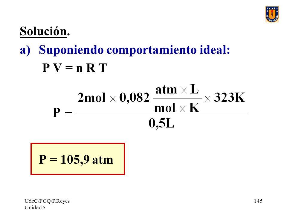 Suponiendo comportamiento ideal: P V = n R T
