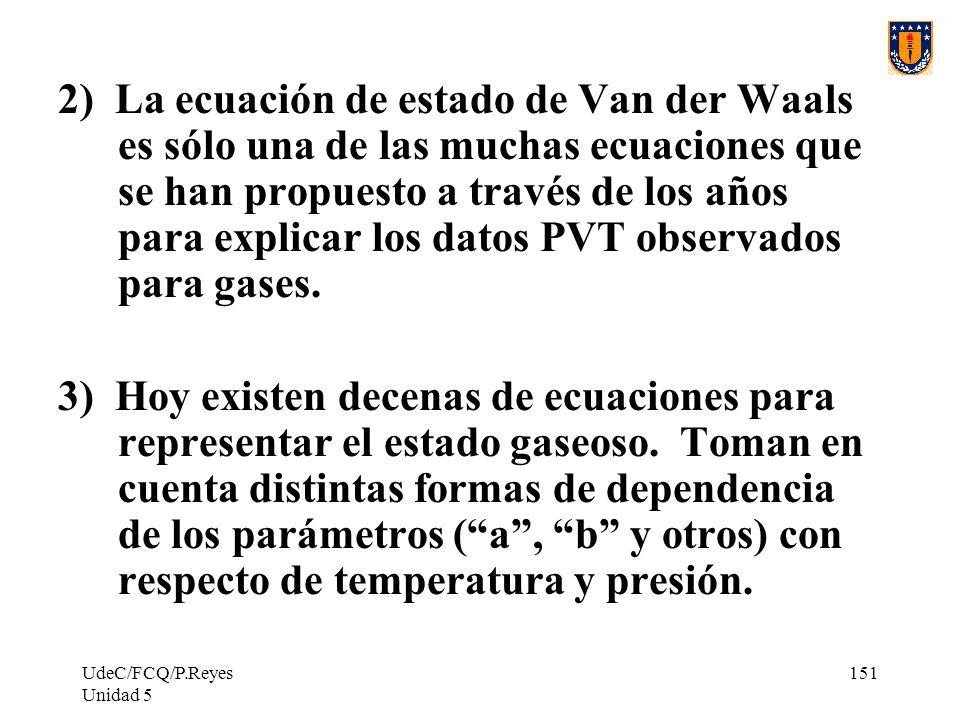 2) La ecuación de estado de Van der Waals es sólo una de las muchas ecuaciones que se han propuesto a través de los años para explicar los datos PVT observados para gases.