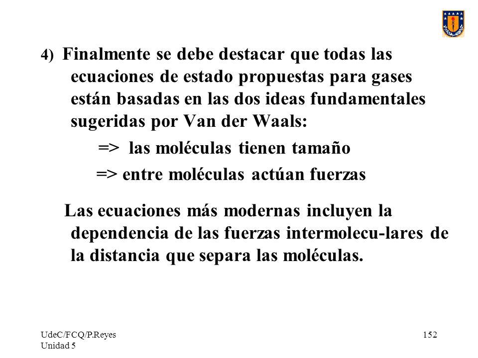 => las moléculas tienen tamaño => entre moléculas actúan fuerzas