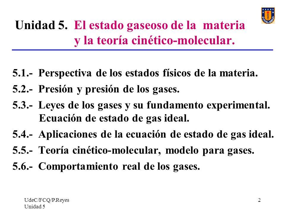 Unidad 5. El estado gaseoso de la materia y la teoría cinético-molecular.