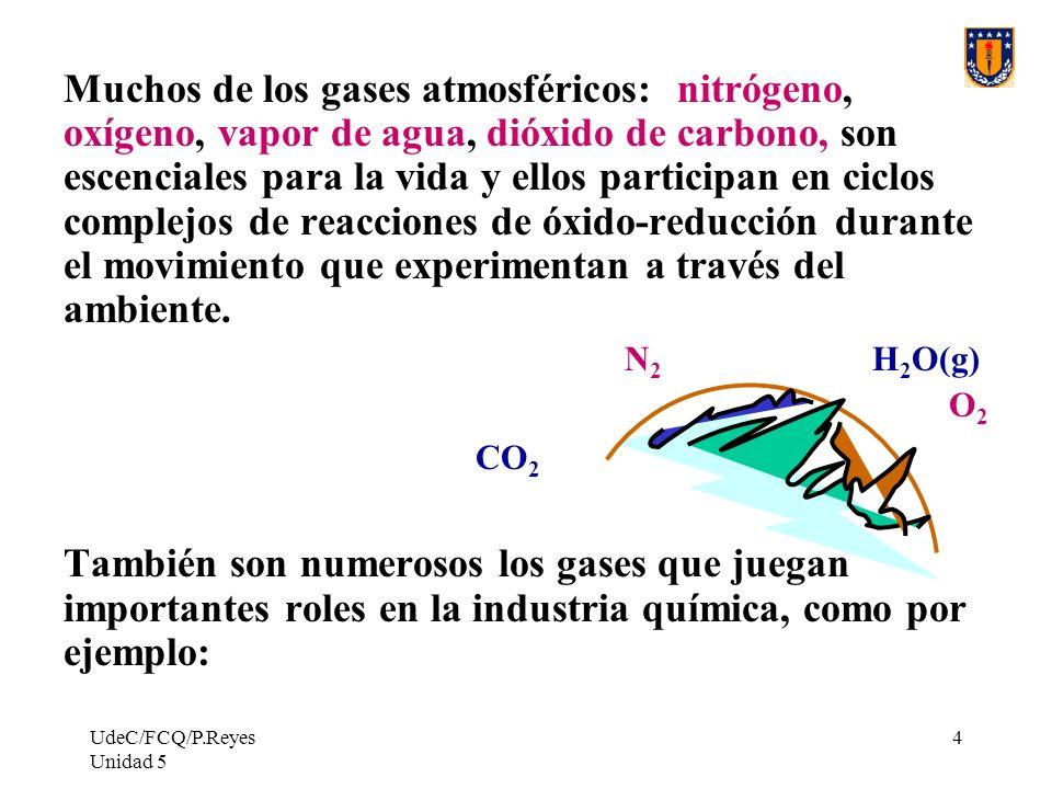 Muchos de los gases atmosféricos: nitrógeno, oxígeno, vapor de agua, dióxido de carbono, son escenciales para la vida y ellos participan en ciclos complejos de reacciones de óxido-reducción durante el movimiento que experimentan a través del ambiente.