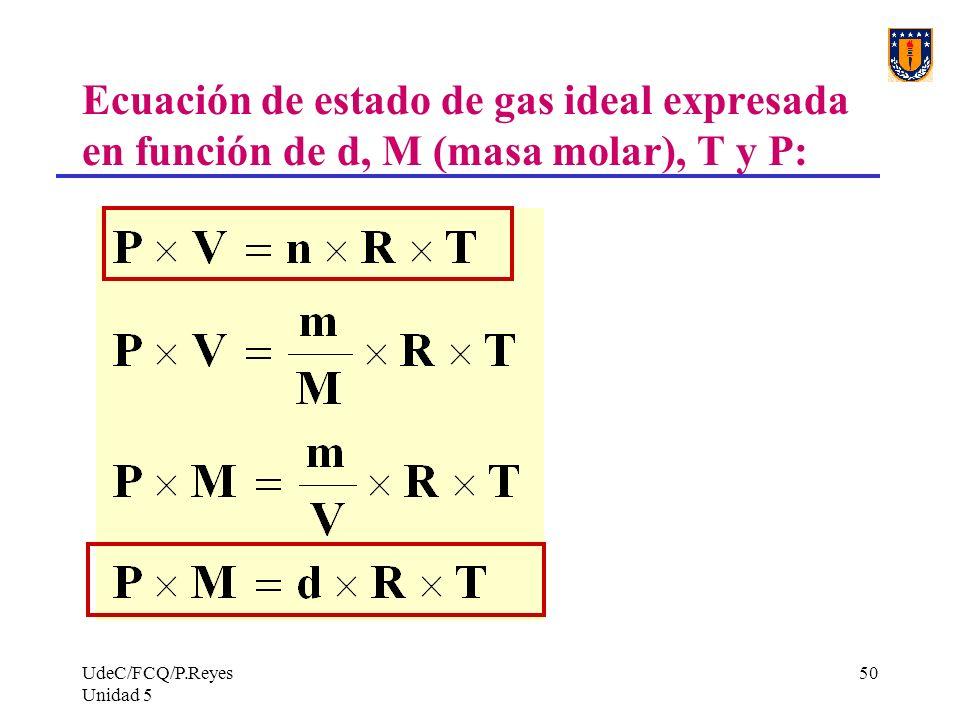Ecuación de estado de gas ideal expresada en función de d, M (masa molar), T y P: