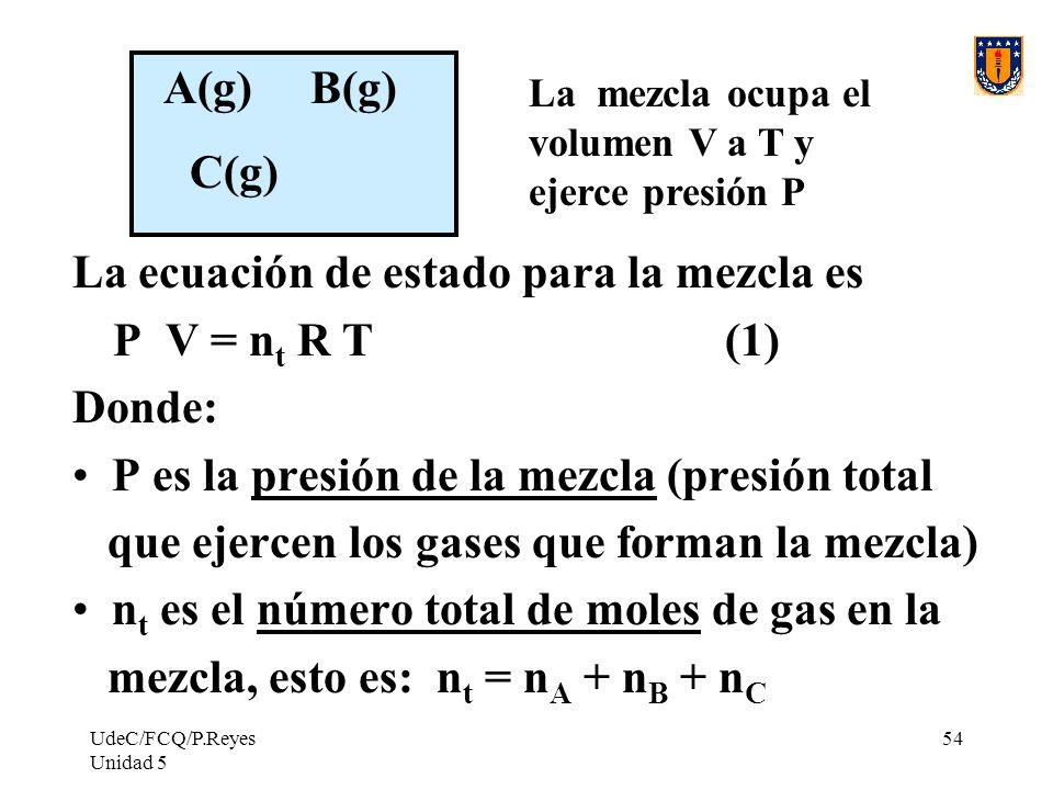 La ecuación de estado para la mezcla es Donde: