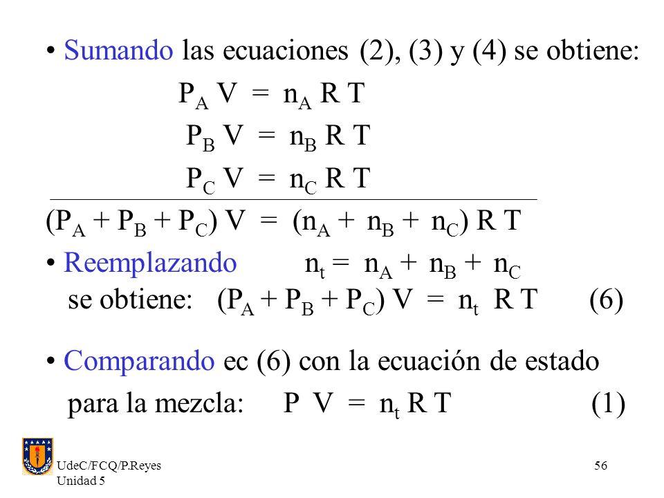 Sumando las ecuaciones (2), (3) y (4) se obtiene: PA V = nA R T