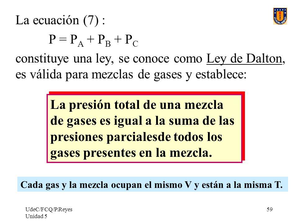 La presión total de una mezcla de gases es igual a la suma de las