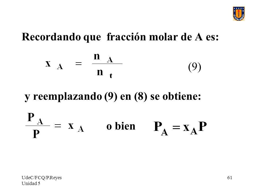 Recordando que fracción molar de A es: (9)