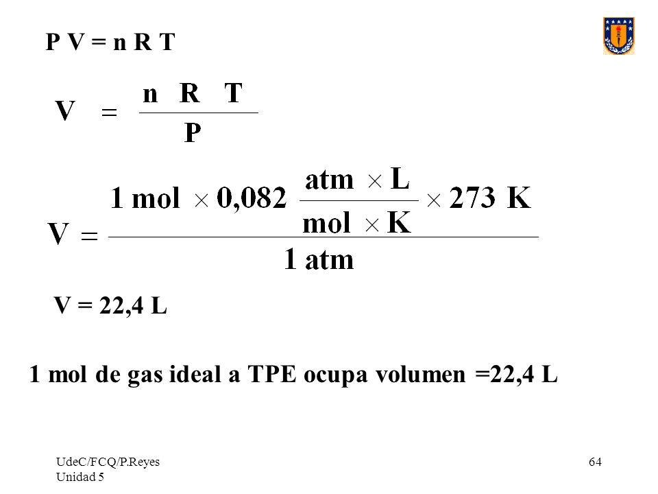 1 mol de gas ideal a TPE ocupa volumen =22,4 L