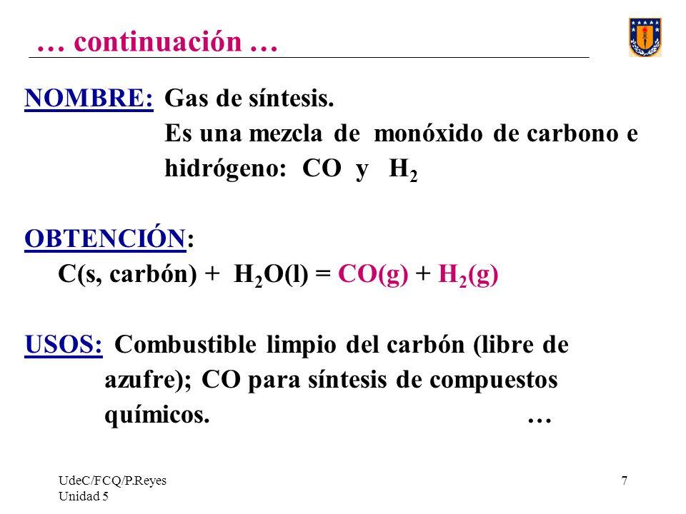 … continuación … NOMBRE: Gas de síntesis.