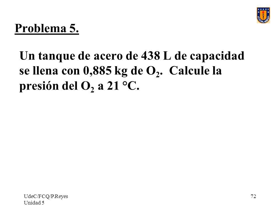 Problema 5. Un tanque de acero de 438 L de capacidad se llena con 0,885 kg de O2. Calcule la presión del O2 a 21 °C.