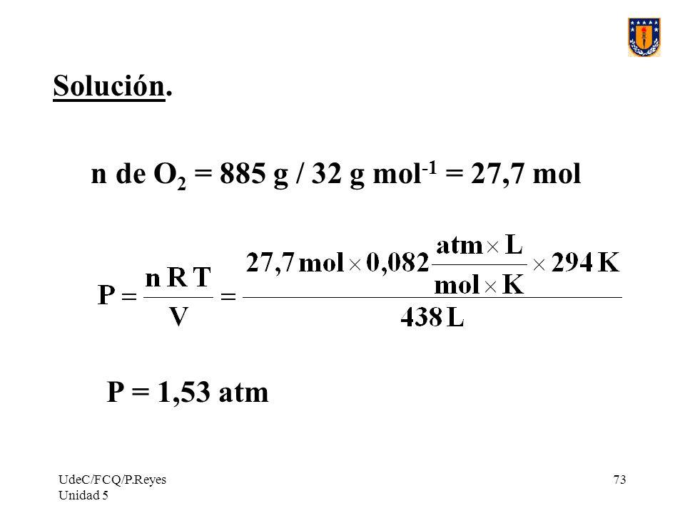 Solución. n de O2 = 885 g / 32 g mol-1 = 27,7 mol P = 1,53 atm