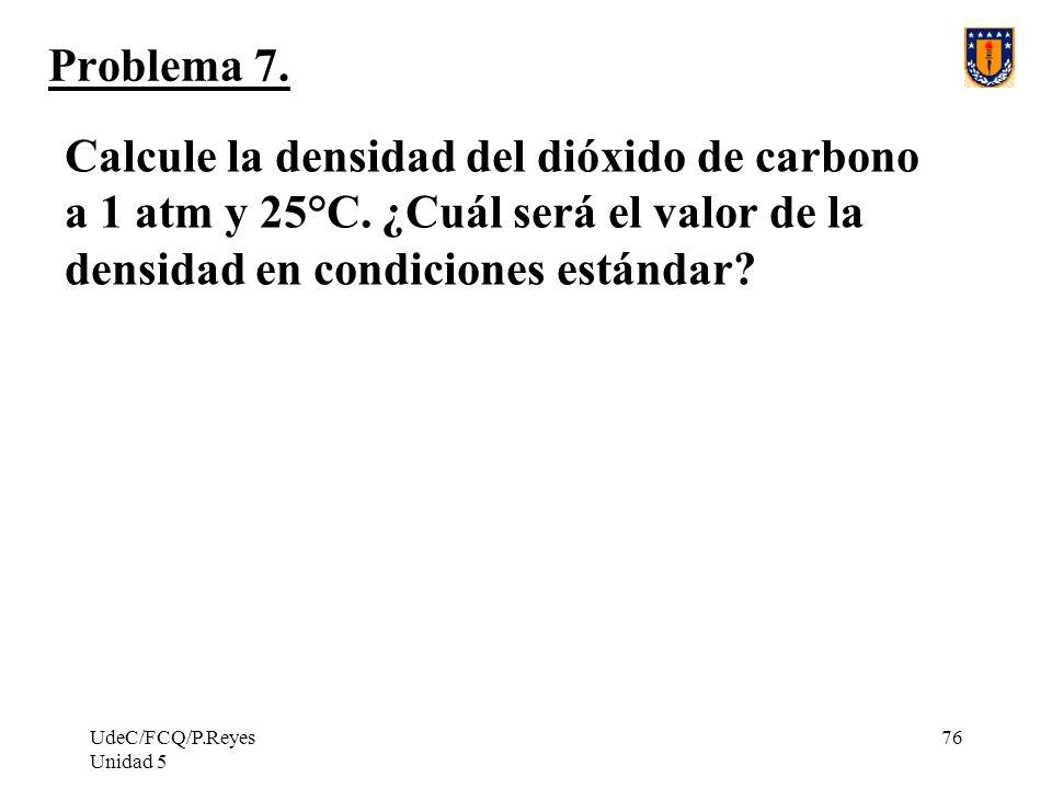 Problema 7. Calcule la densidad del dióxido de carbono a 1 atm y 25°C. ¿Cuál será el valor de la densidad en condiciones estándar