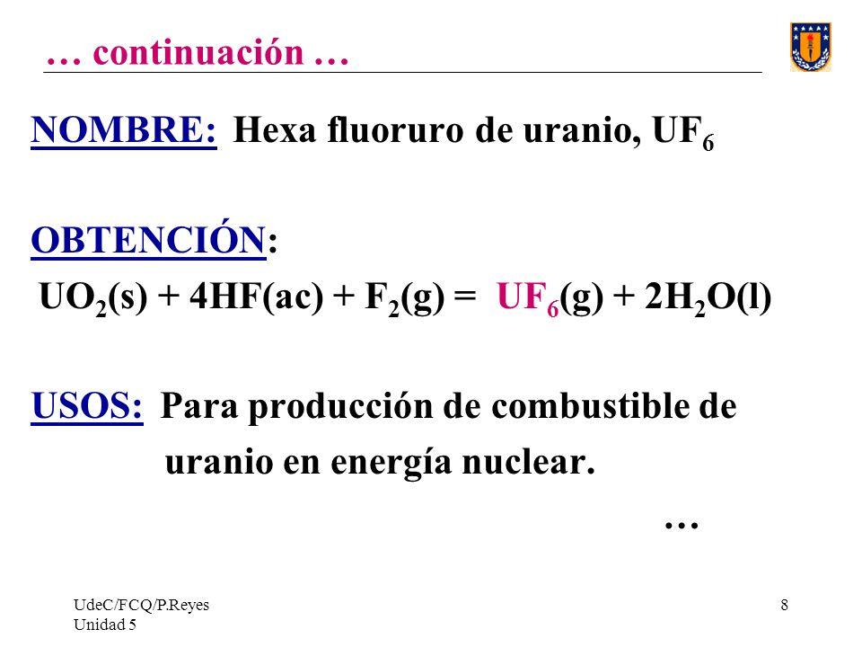 NOMBRE: Hexa fluoruro de uranio, UF6 OBTENCIÓN: