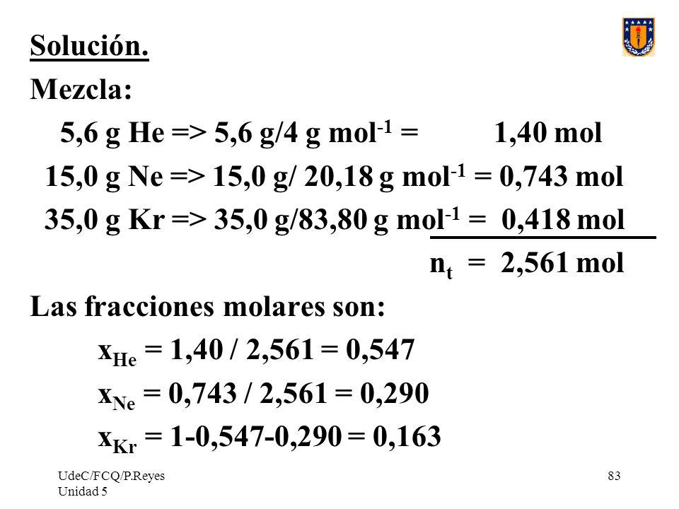 Las fracciones molares son: xHe = 1,40 / 2,561 = 0,547