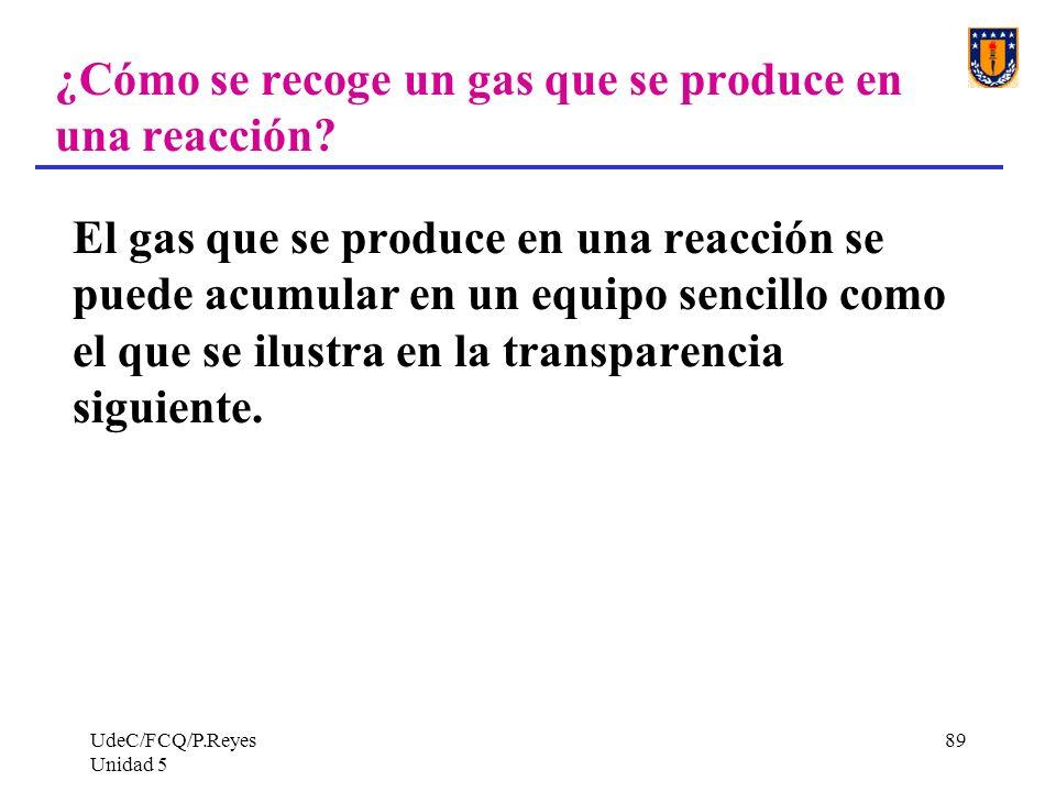 ¿Cómo se recoge un gas que se produce en una reacción