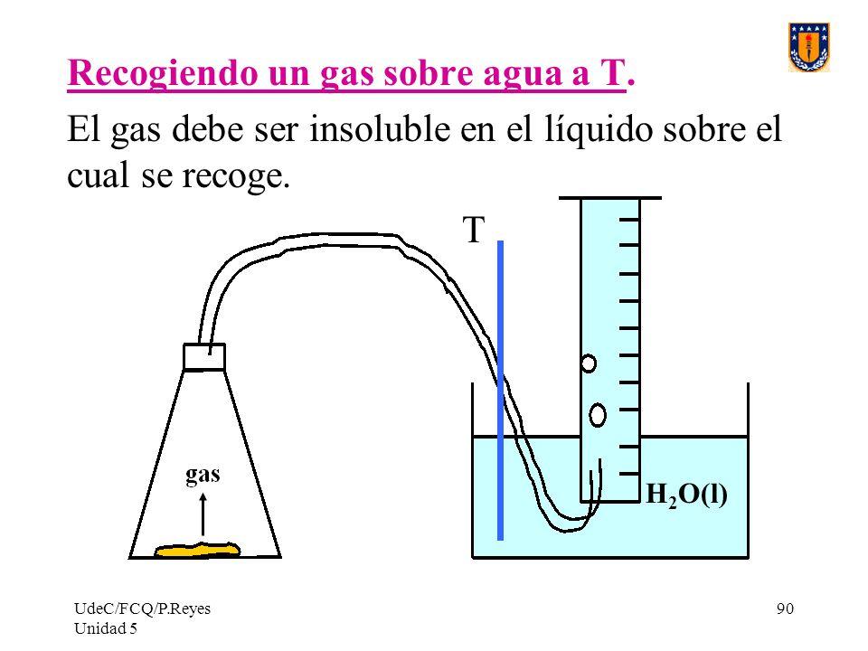 Recogiendo un gas sobre agua a T.