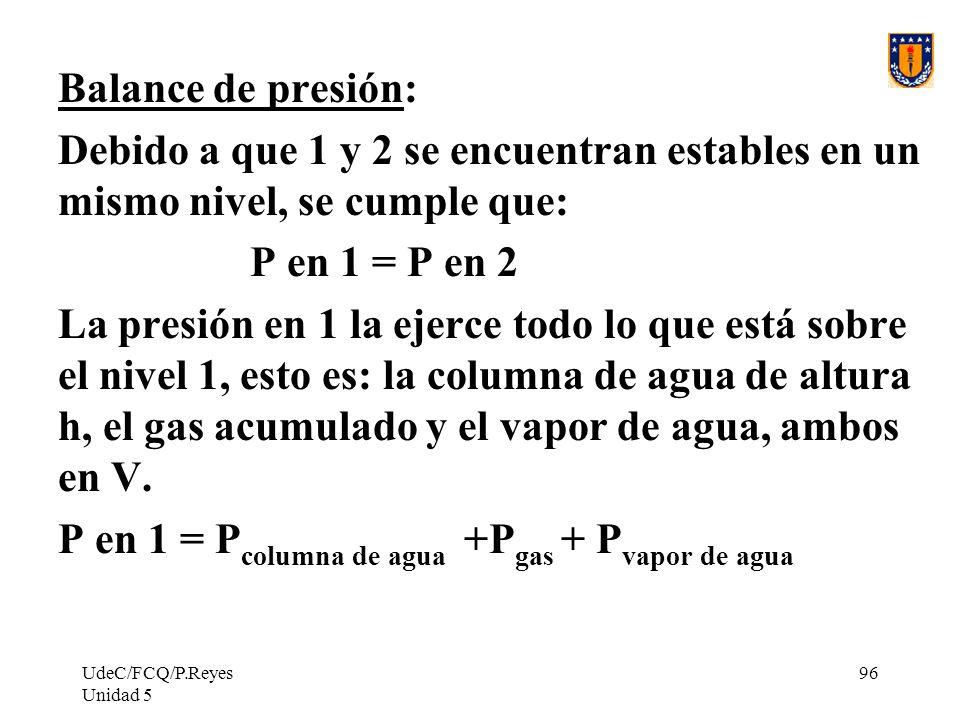 P en 1 = Pcolumna de agua +Pgas + Pvapor de agua
