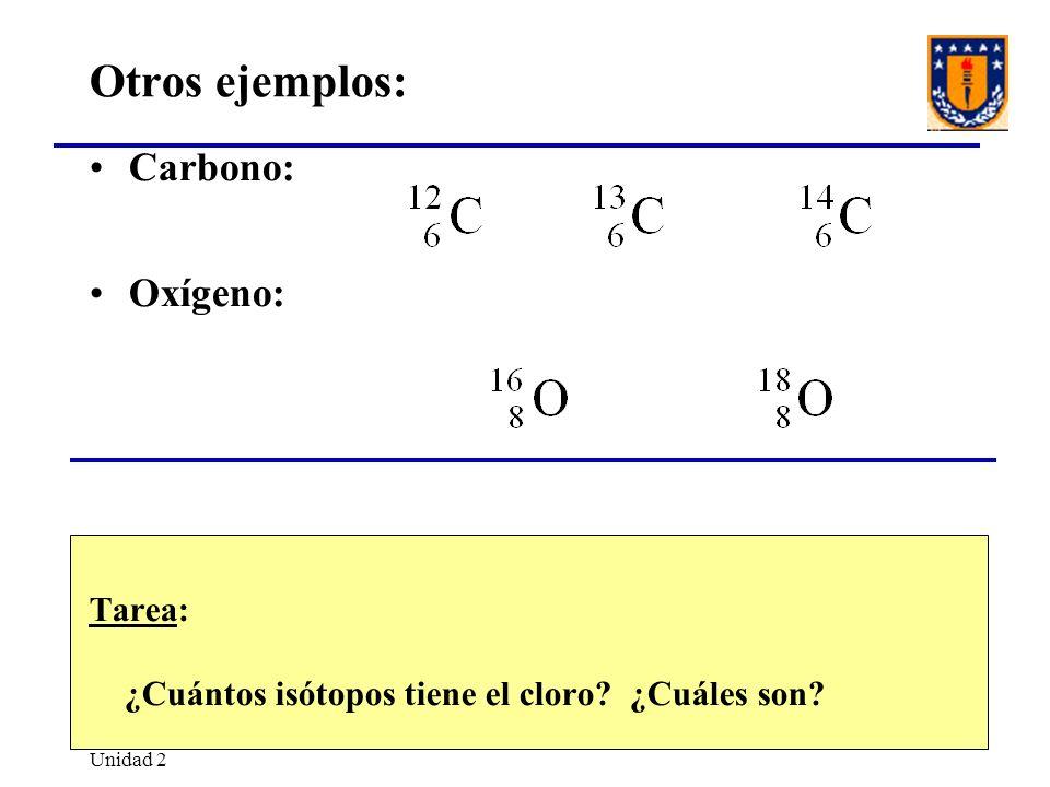 Otros ejemplos: Carbono: Oxígeno: Tarea: