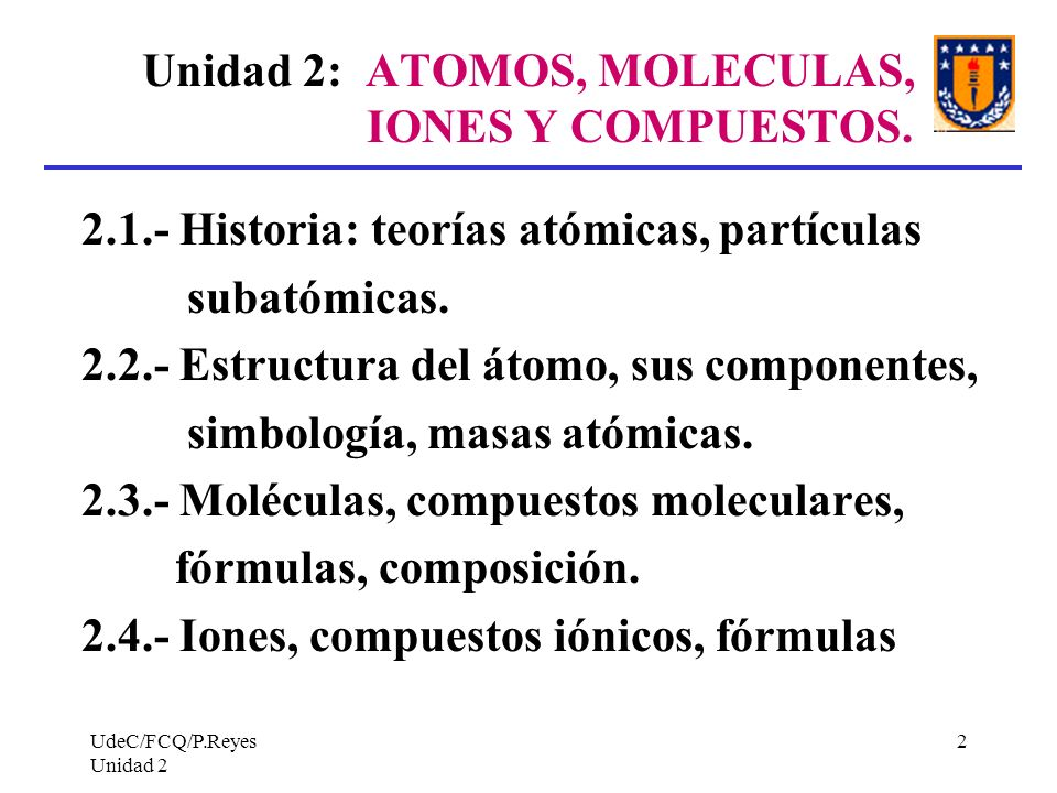Unidad 2: ATOMOS, MOLECULAS, IONES Y COMPUESTOS.