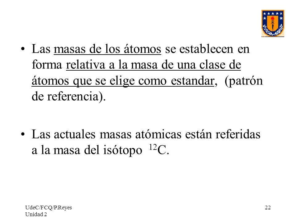Las actuales masas atómicas están referidas a la masa del isótopo 12C.