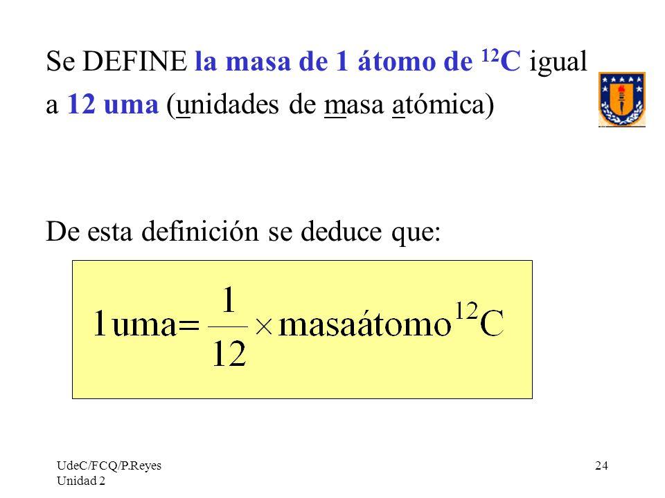 Se DEFINE la masa de 1 átomo de 12C igual
