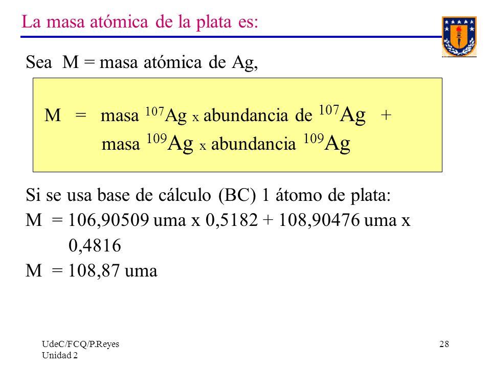 La masa atómica de la plata es: