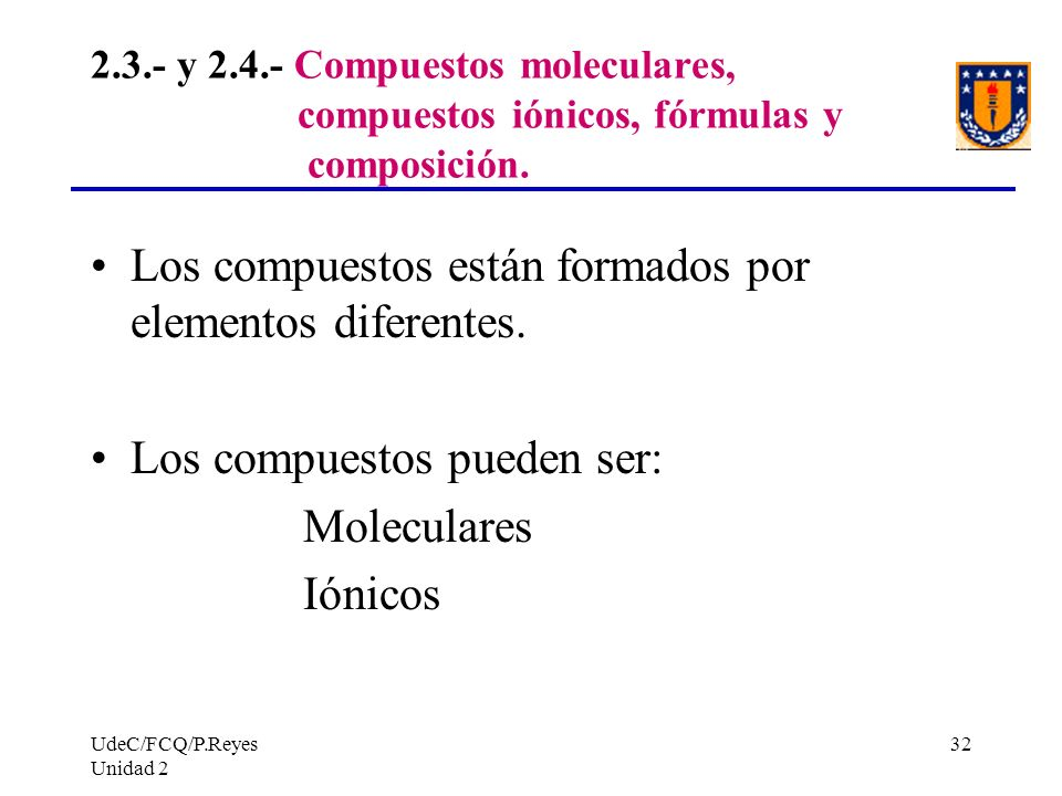 Los compuestos están formados por elementos diferentes.