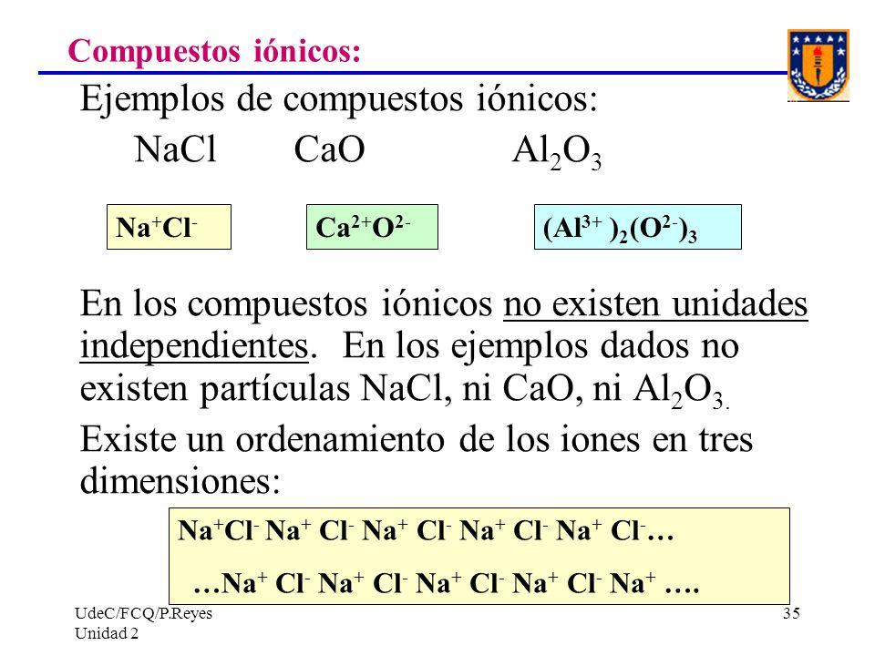 Ejemplos de compuestos iónicos: NaCl CaO Al2O3