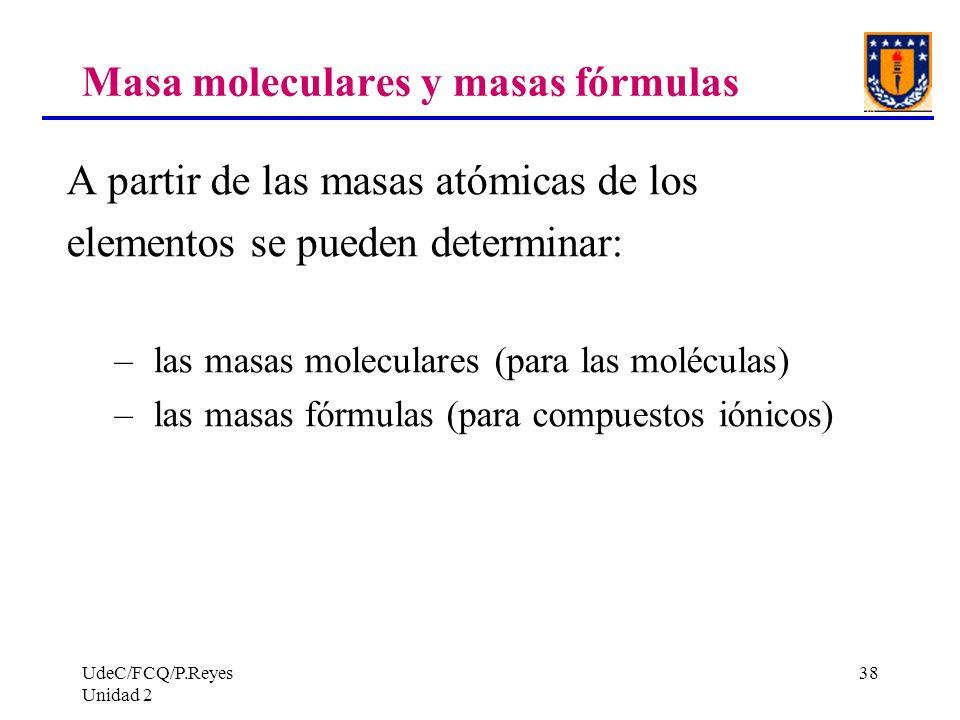 Masa moleculares y masas fórmulas
