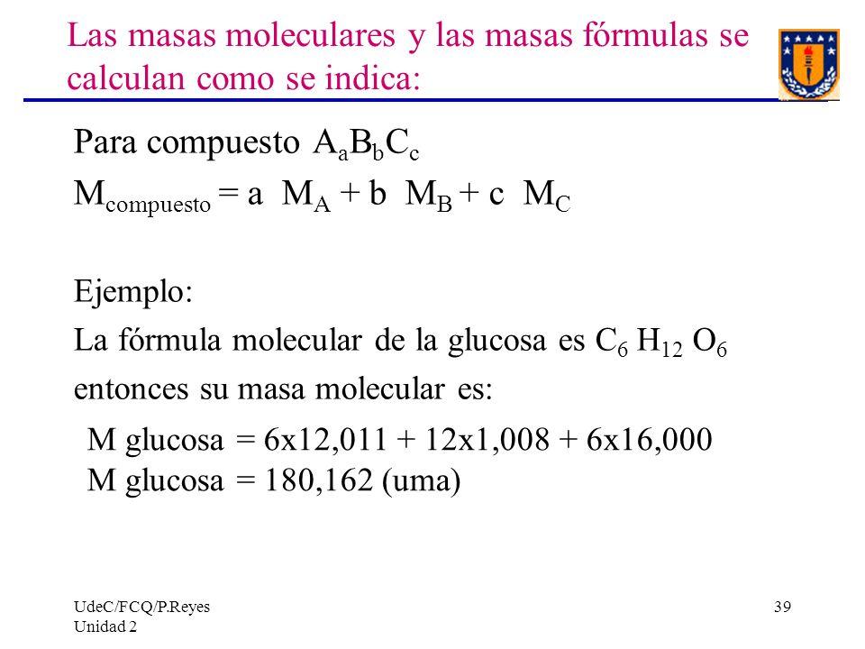 Las masas moleculares y las masas fórmulas se calculan como se indica: