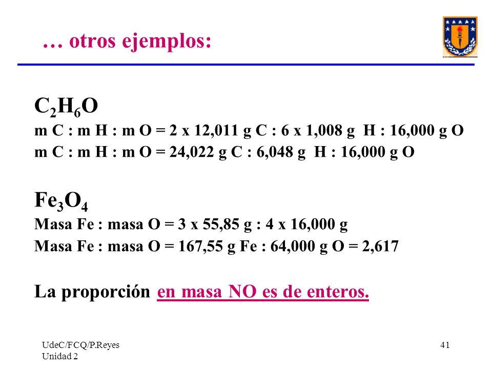 … otros ejemplos: C2H6O Fe3O4 La proporción en masa NO es de enteros.