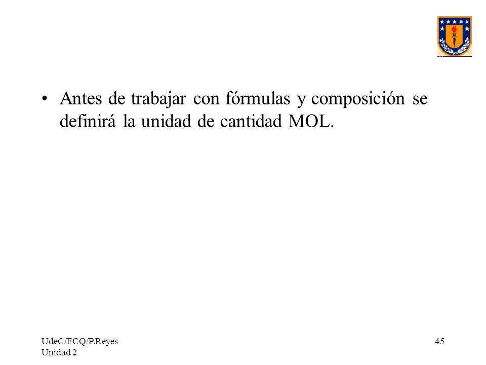 Antes de trabajar con fórmulas y composición se definirá la unidad de cantidad MOL.