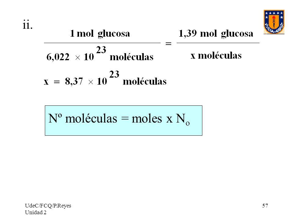 Nº moléculas = moles x No