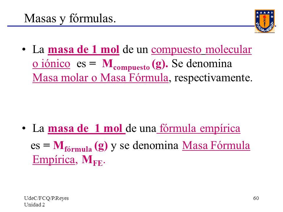 Masas y fórmulas. La masa de 1 mol de un compuesto molecular o iónico es = Mcompuesto (g). Se denomina Masa molar o Masa Fórmula, respectivamente.
