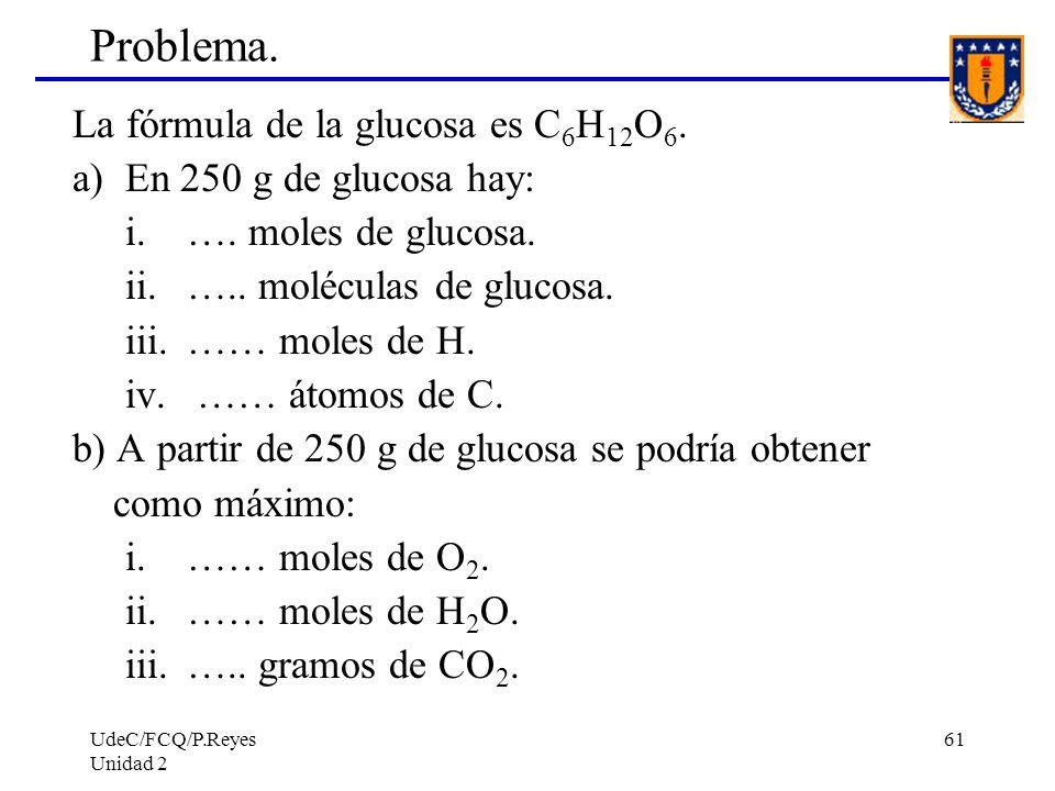 Problema. La fórmula de la glucosa es C6H12O6.