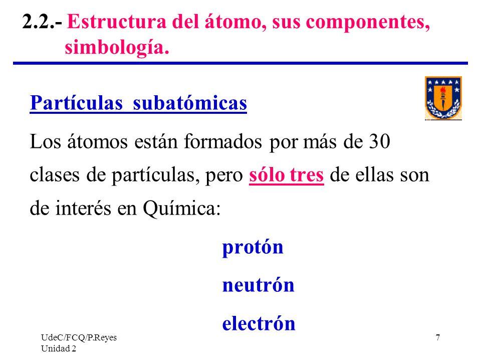 2.2.- Estructura del átomo, sus componentes, simbología.