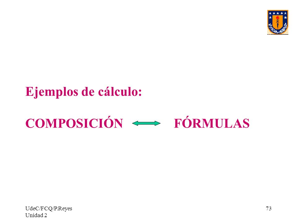 Ejemplos de cálculo: COMPOSICIÓN FÓRMULAS