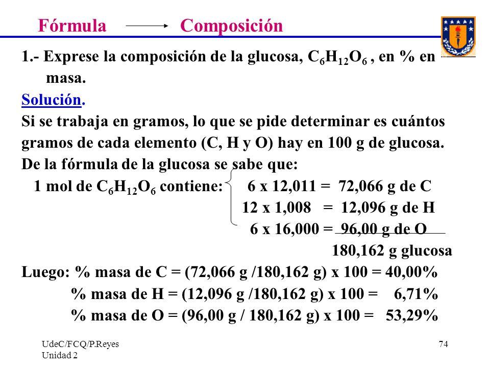 Fórmula Composición 1.- Exprese la composición de la glucosa, C6H12O6 , en % en. masa.