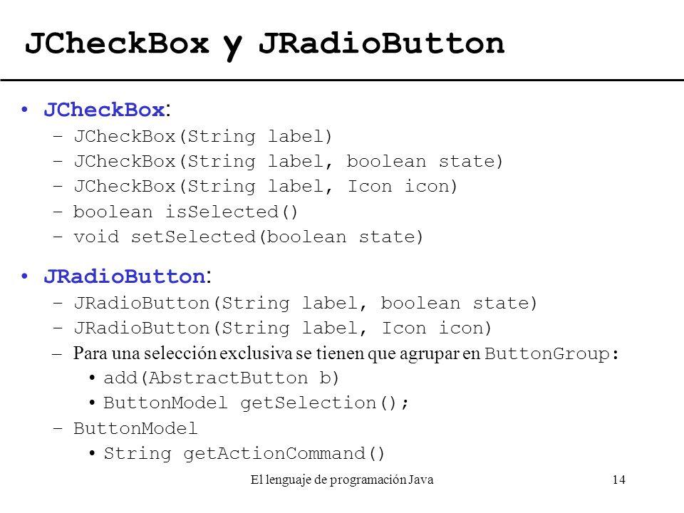 JCheckBox y JRadioButton