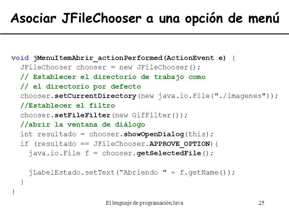 Asociar JFileChooser a una opción de menú