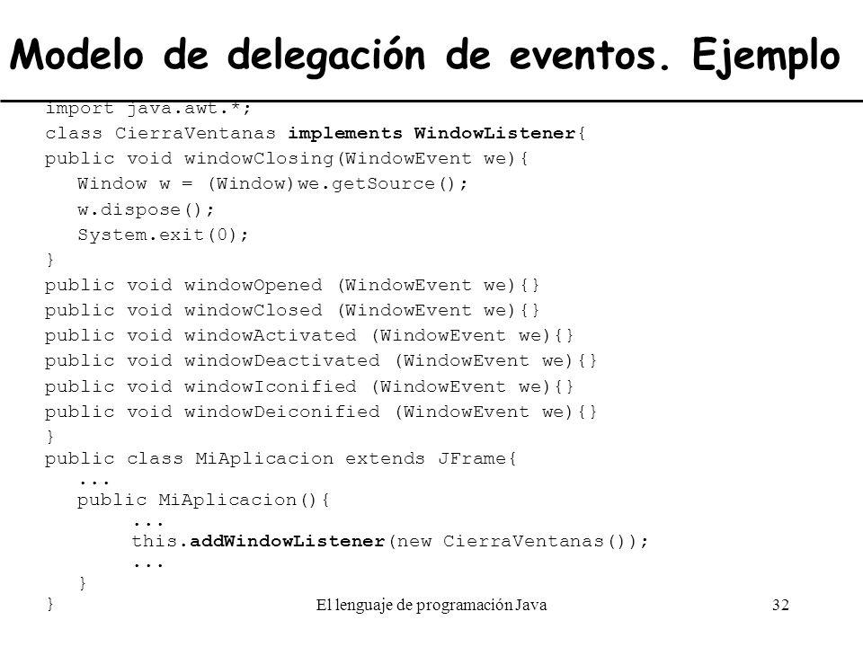 Modelo de delegación de eventos. Ejemplo