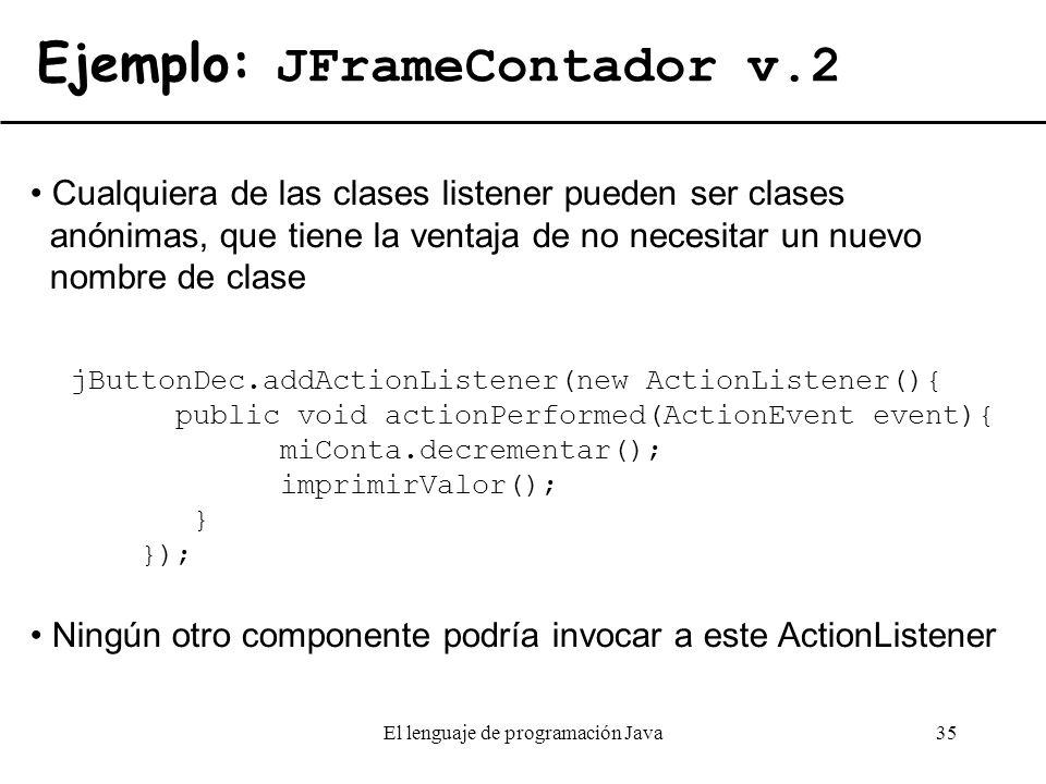Ejemplo: JFrameContador v.2