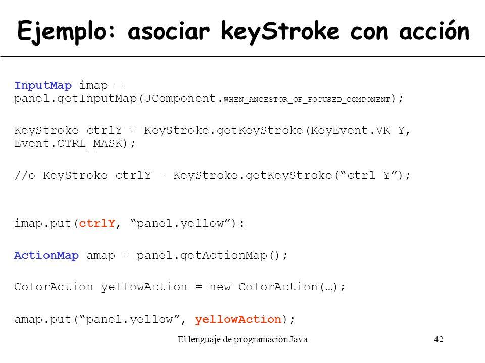 Ejemplo: asociar keyStroke con acción