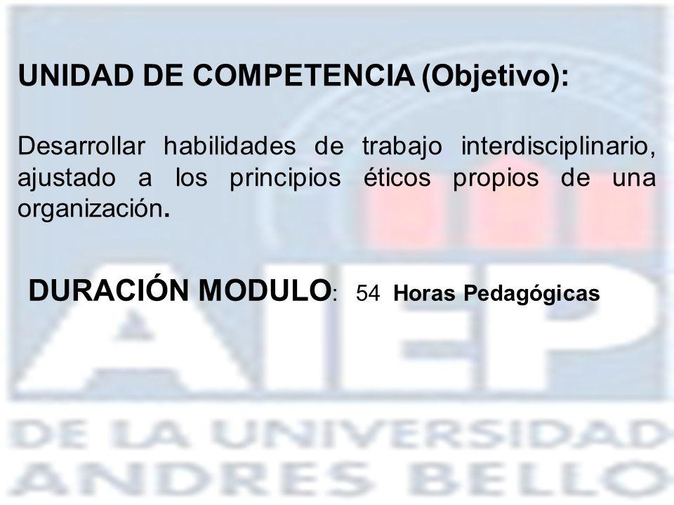 UNIDAD DE COMPETENCIA (Objetivo):
