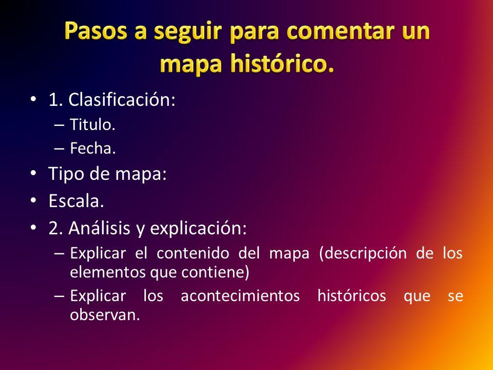 Pasos a seguir para comentar un mapa histórico.