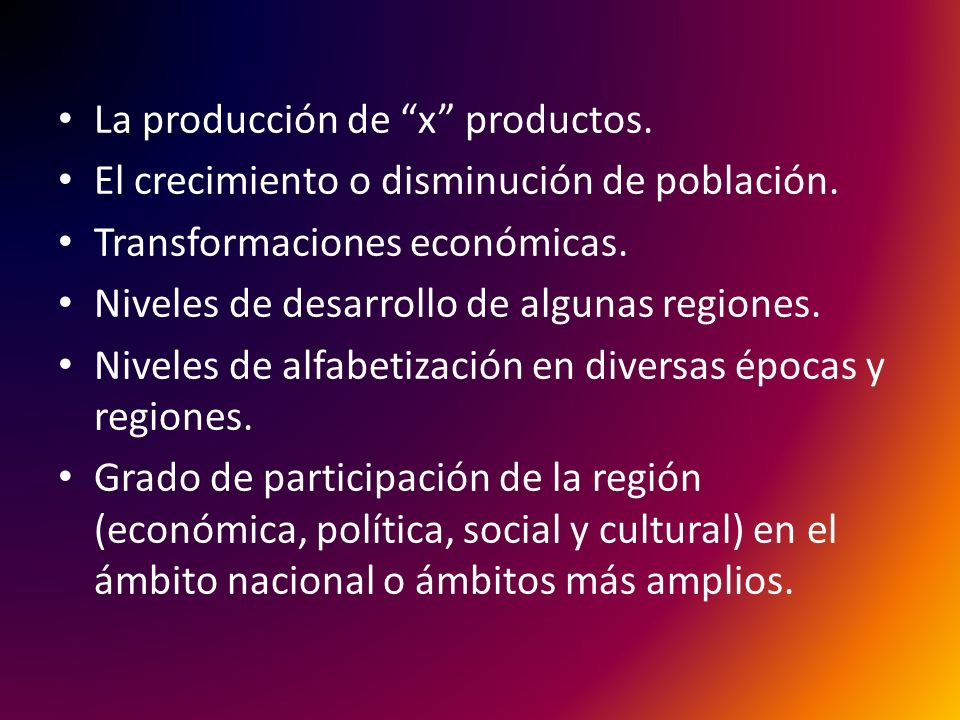 La producción de x productos.