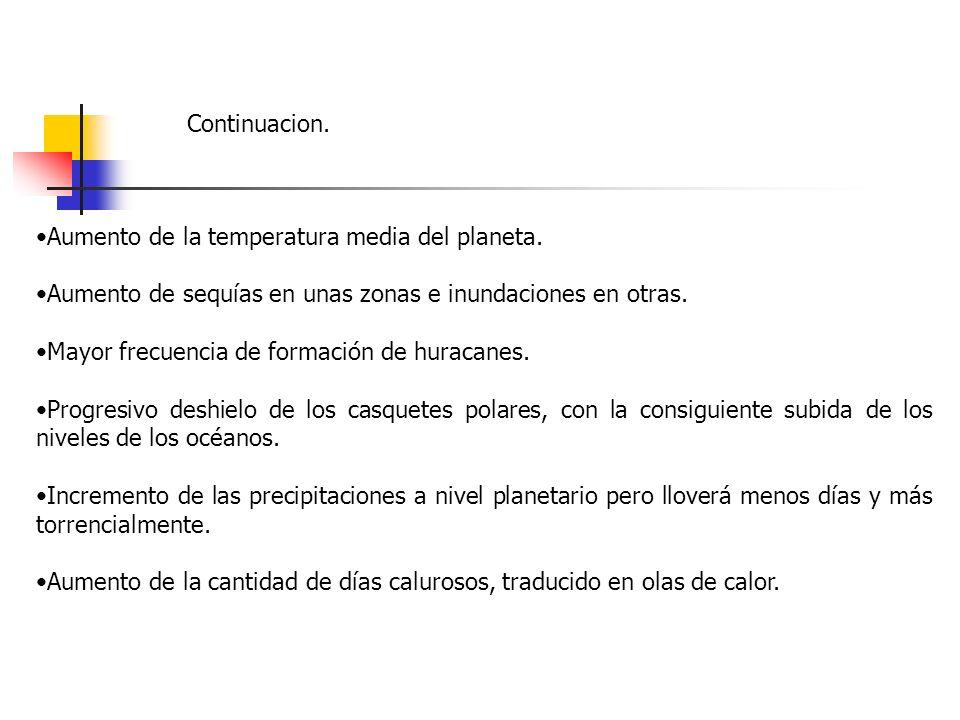 Continuacion. Aumento de la temperatura media del planeta. Aumento de sequías en unas zonas e inundaciones en otras.