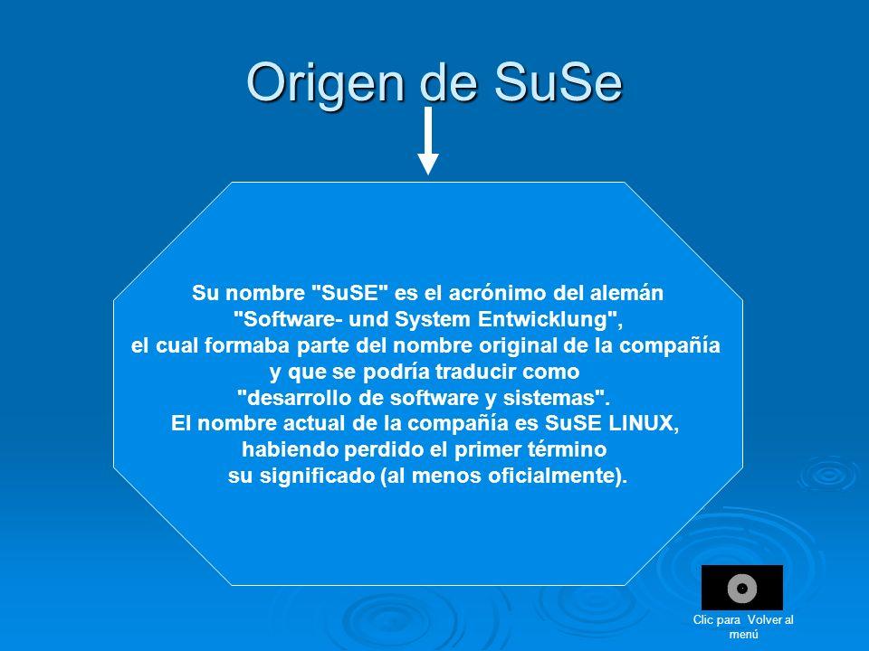Origen de SuSe Su nombre SuSE es el acrónimo del alemán