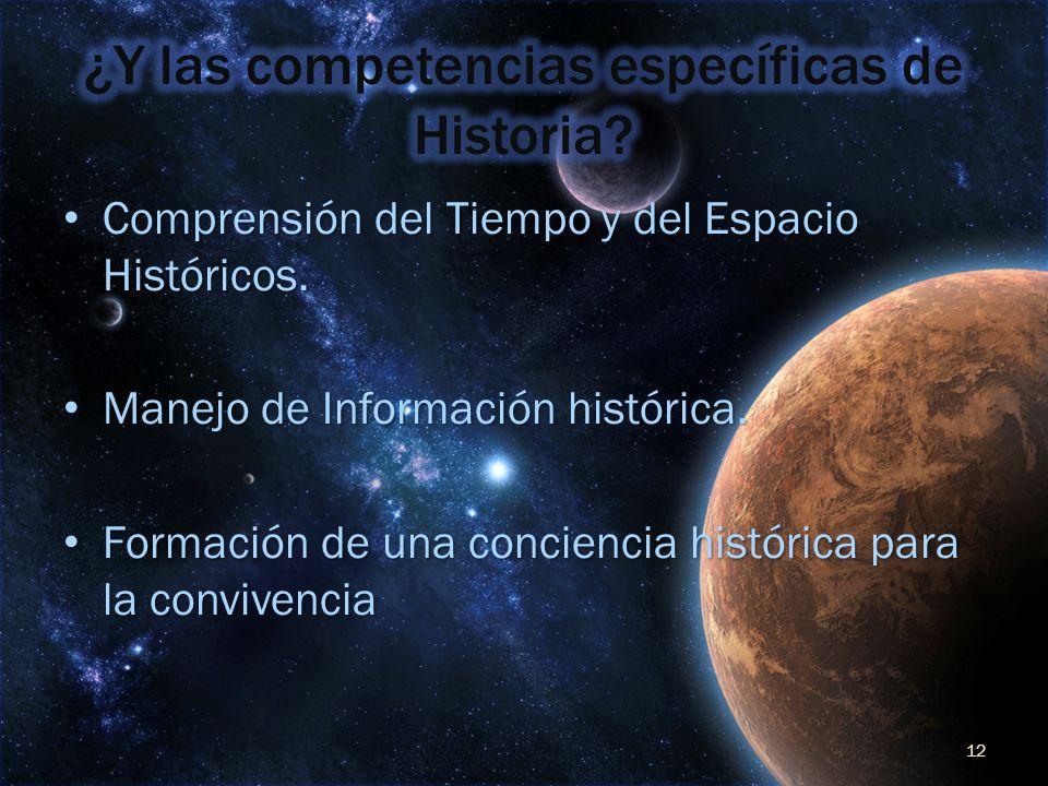¿Y las competencias específicas de Historia
