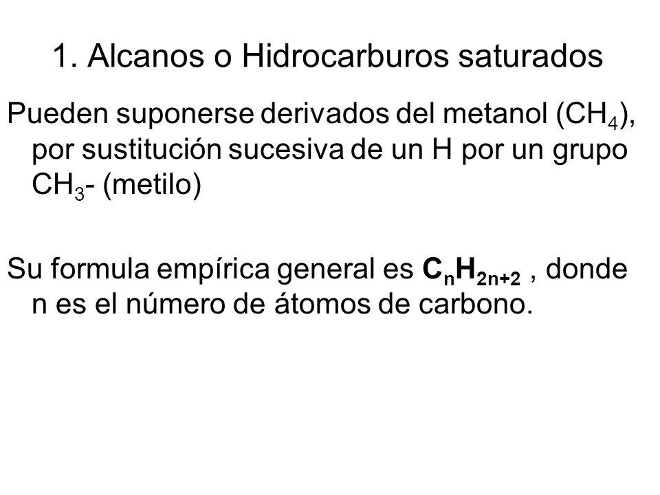 1. Alcanos o Hidrocarburos saturados