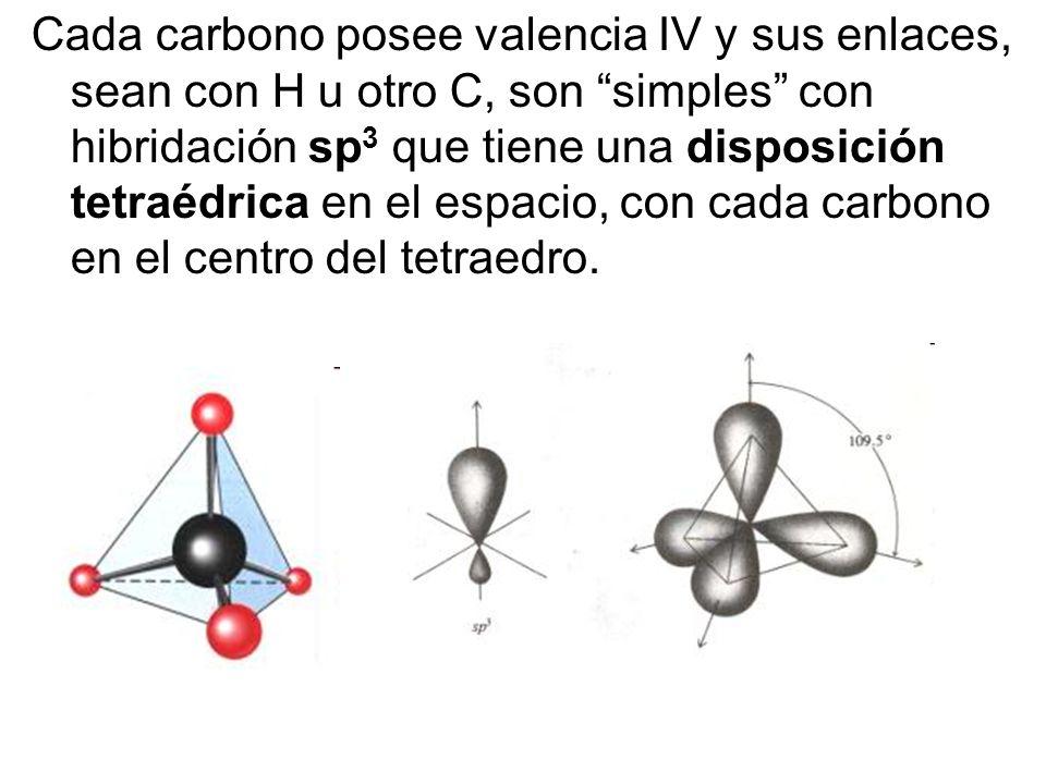 Cada carbono posee valencia IV y sus enlaces, sean con H u otro C, son simples con hibridación sp3 que tiene una disposición tetraédrica en el espacio, con cada carbono en el centro del tetraedro.